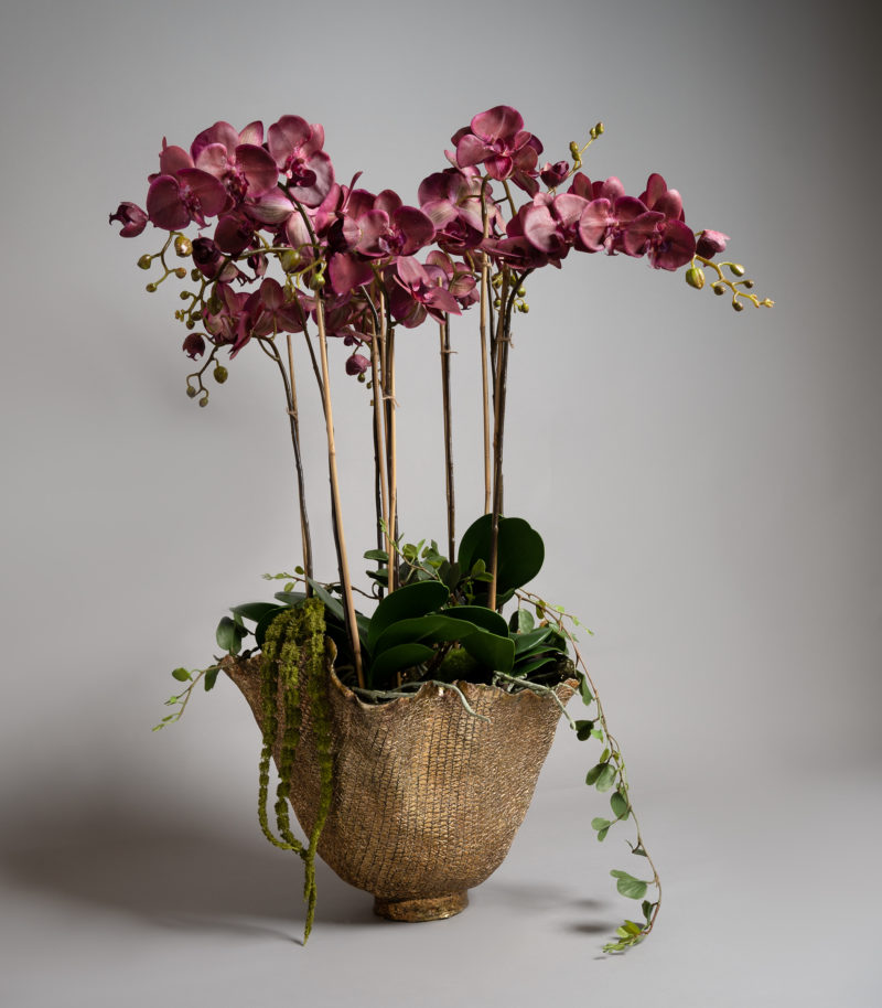Purple orchids in gold pot
