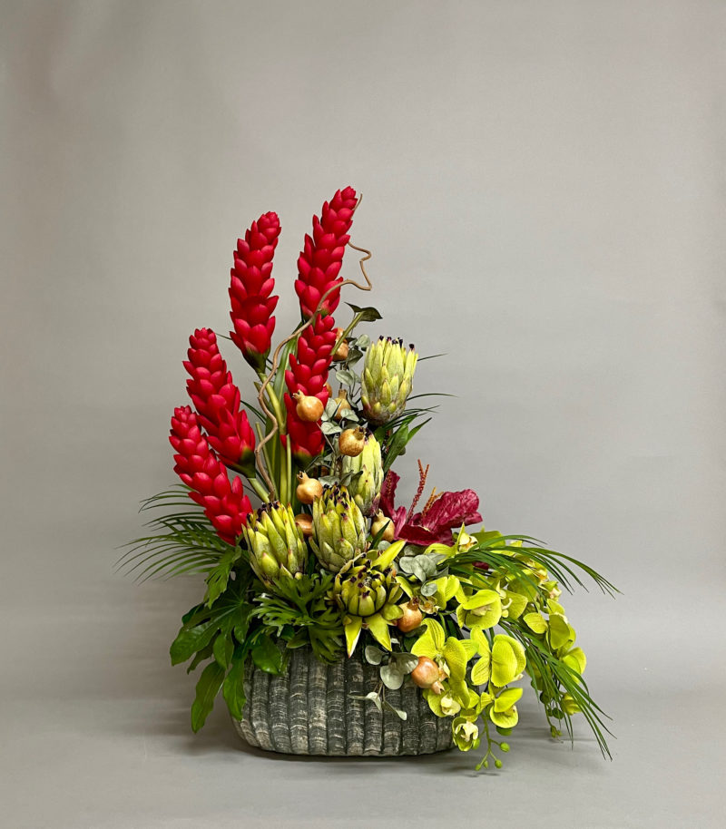 Tropical flowers in vase