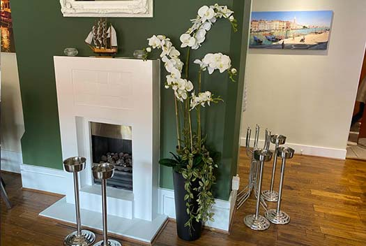 Tall orchids in the Venezia Italian restaurant